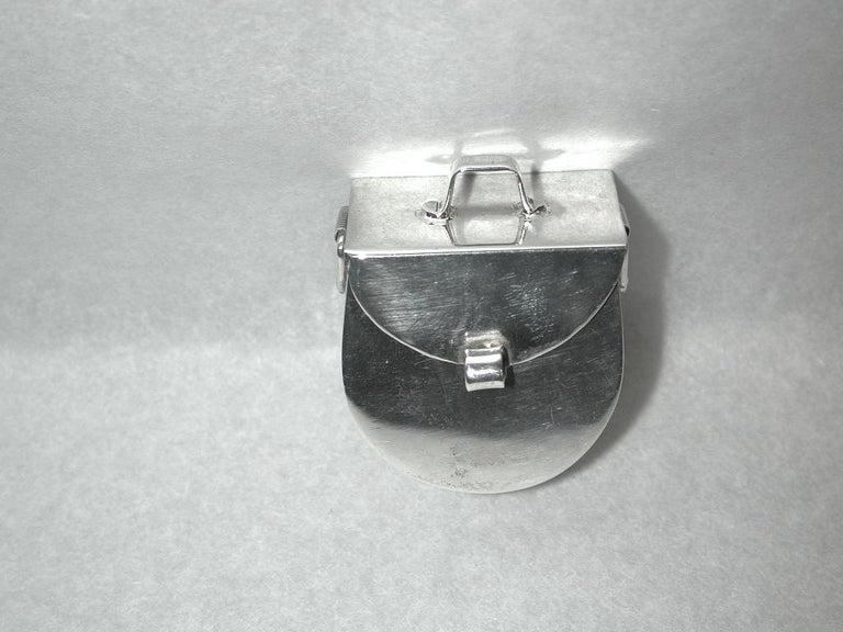 Novelty Mexican Silver Panier Pill Box, 925 Silver, circa 1980 Very good model with moving side loops. Heavy gauge of silver.