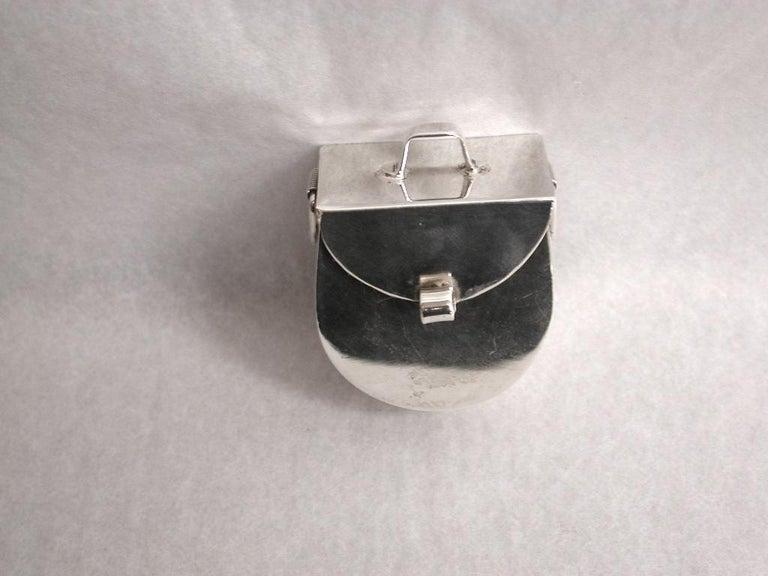 Modern Novelty Mexican Silver Panier Pill Box, 925 Silver, circa 1980 For Sale