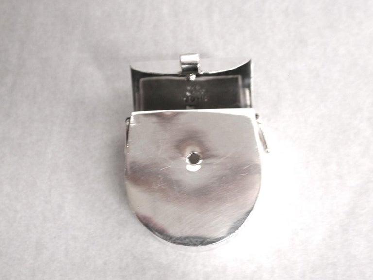 Late 20th Century Novelty Mexican Silver Panier Pill Box, 925 Silver, circa 1980 For Sale