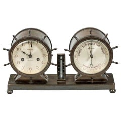 Novelty Nautical Clock and Barometer Set by Westbury Clock Co., USA
