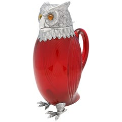 Novelty Red Glass and Sterling Silver Owl Claret Jug from London, 1972