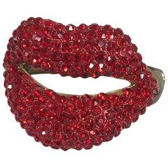 Novelty Red Rhinestone Lips Bracelet 1980s