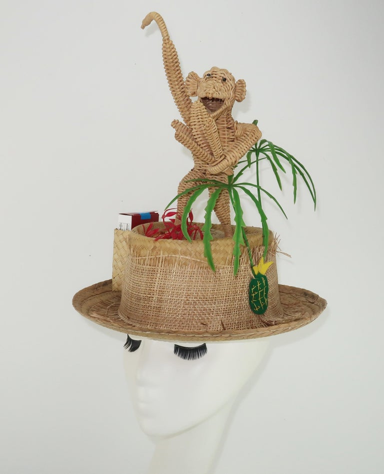 Novelty Straw Beach Hat With Monkey, C.1960 For Sale 5