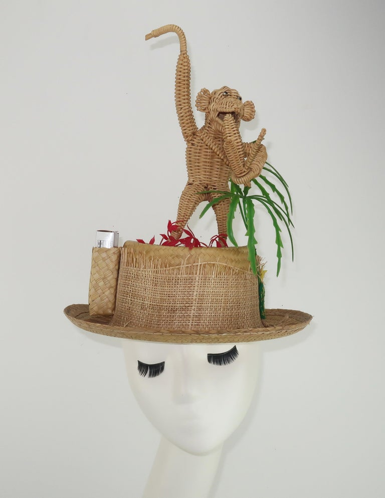 Novelty Straw Beach Hat With Monkey, C.1960 For Sale 6