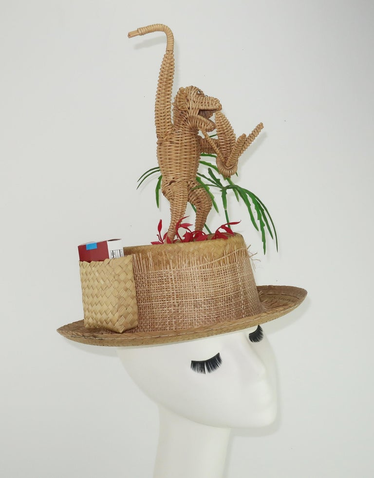 Novelty Straw Beach Hat With Monkey, C.1960 For Sale 7