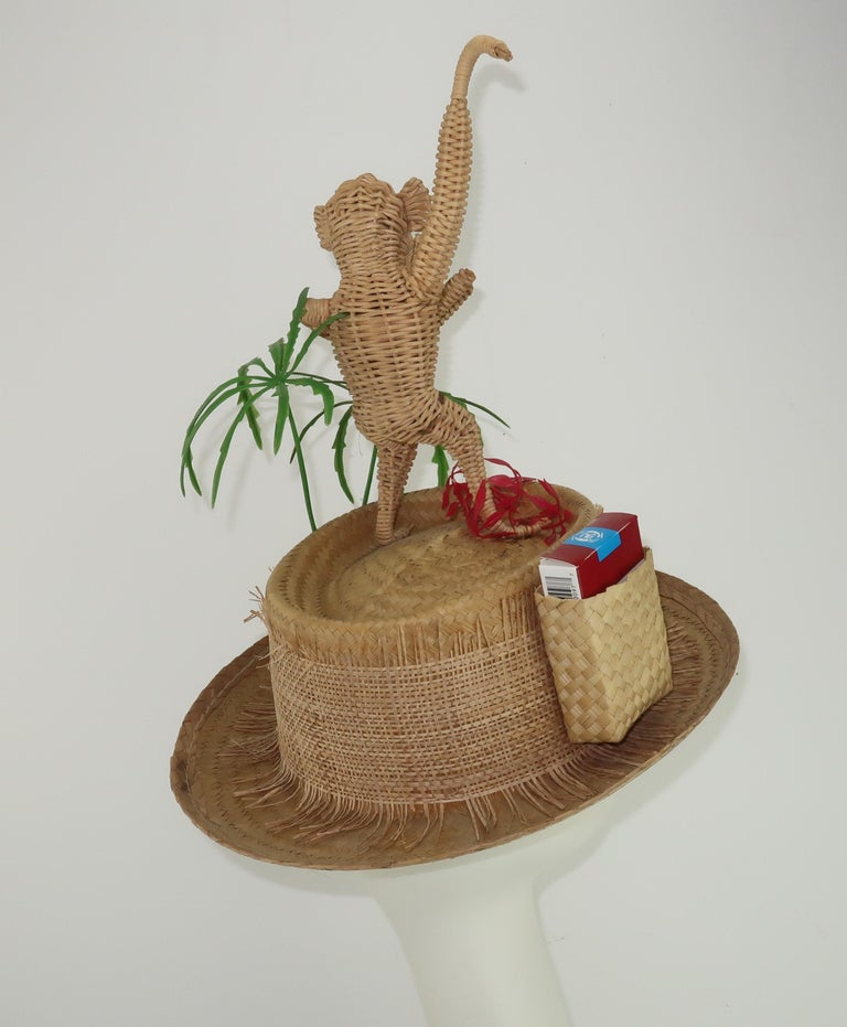Novelty Straw Beach Hat With Monkey, C.1960 For Sale 8