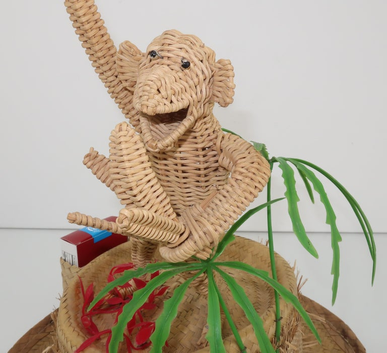 Brown Novelty Straw Beach Hat With Monkey, C.1960 For Sale