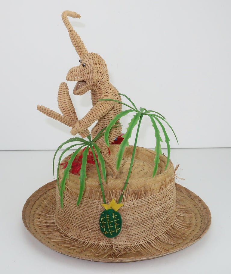 Novelty Straw Beach Hat With Monkey, C.1960 In Good Condition For Sale In Atlanta, GA