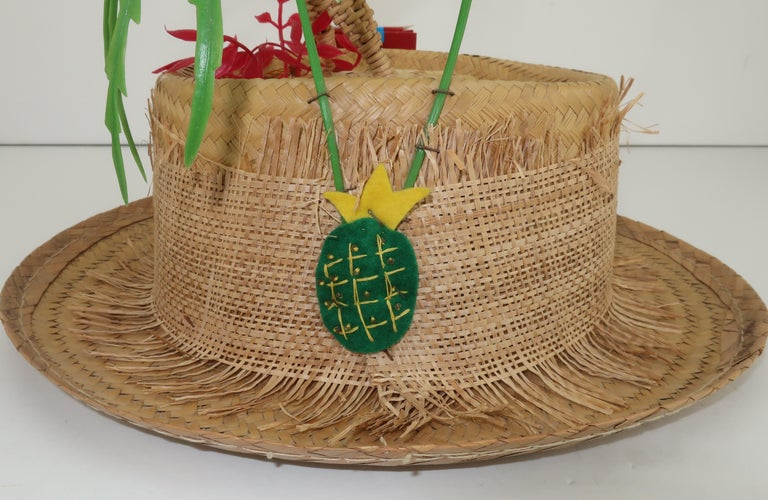 Women's or Men's Novelty Straw Beach Hat With Monkey, C.1960 For Sale