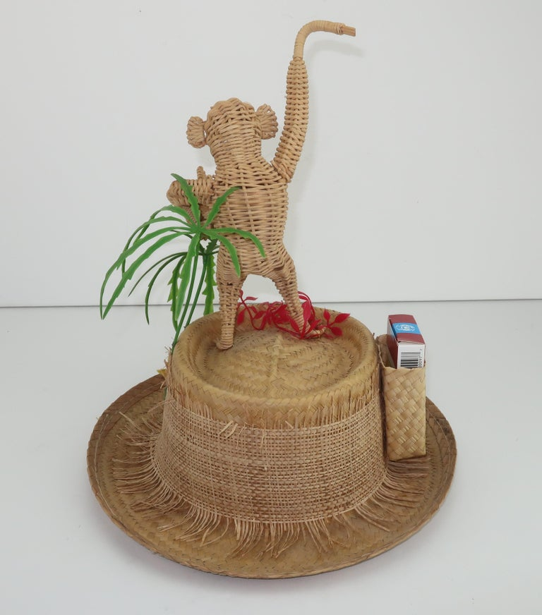 Novelty Straw Beach Hat With Monkey, C.1960 For Sale 1