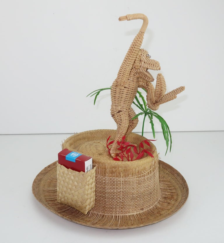 Novelty Straw Beach Hat With Monkey, C.1960 For Sale 2