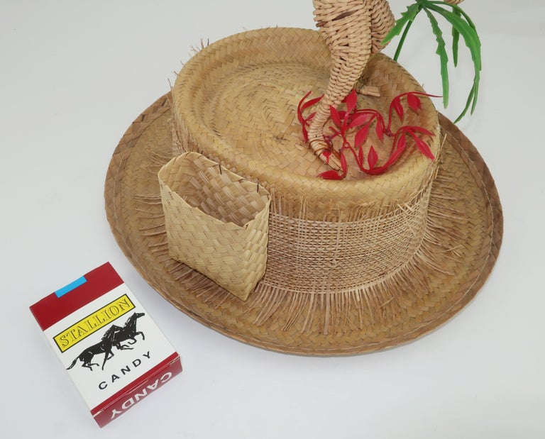 Novelty Straw Beach Hat With Monkey, C.1960 For Sale 3