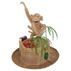 Novelty Straw Beach Hat With Monkey, C.1960