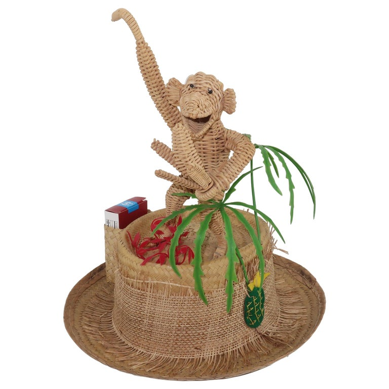 Novelty Straw Beach Hat With Monkey, C.1960 For Sale