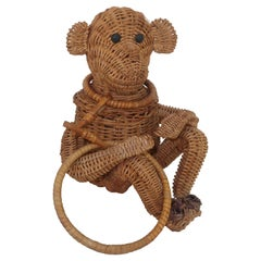 Novelty Wicker Monkey Handbag, 1950's