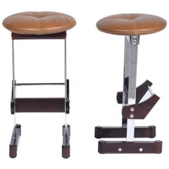 Novo Rumo Midcentury Brazilian bar stool with rosewood and steel, 1960s