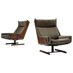 Novo Rumo Reupholstered Rosewood High Back Chairs