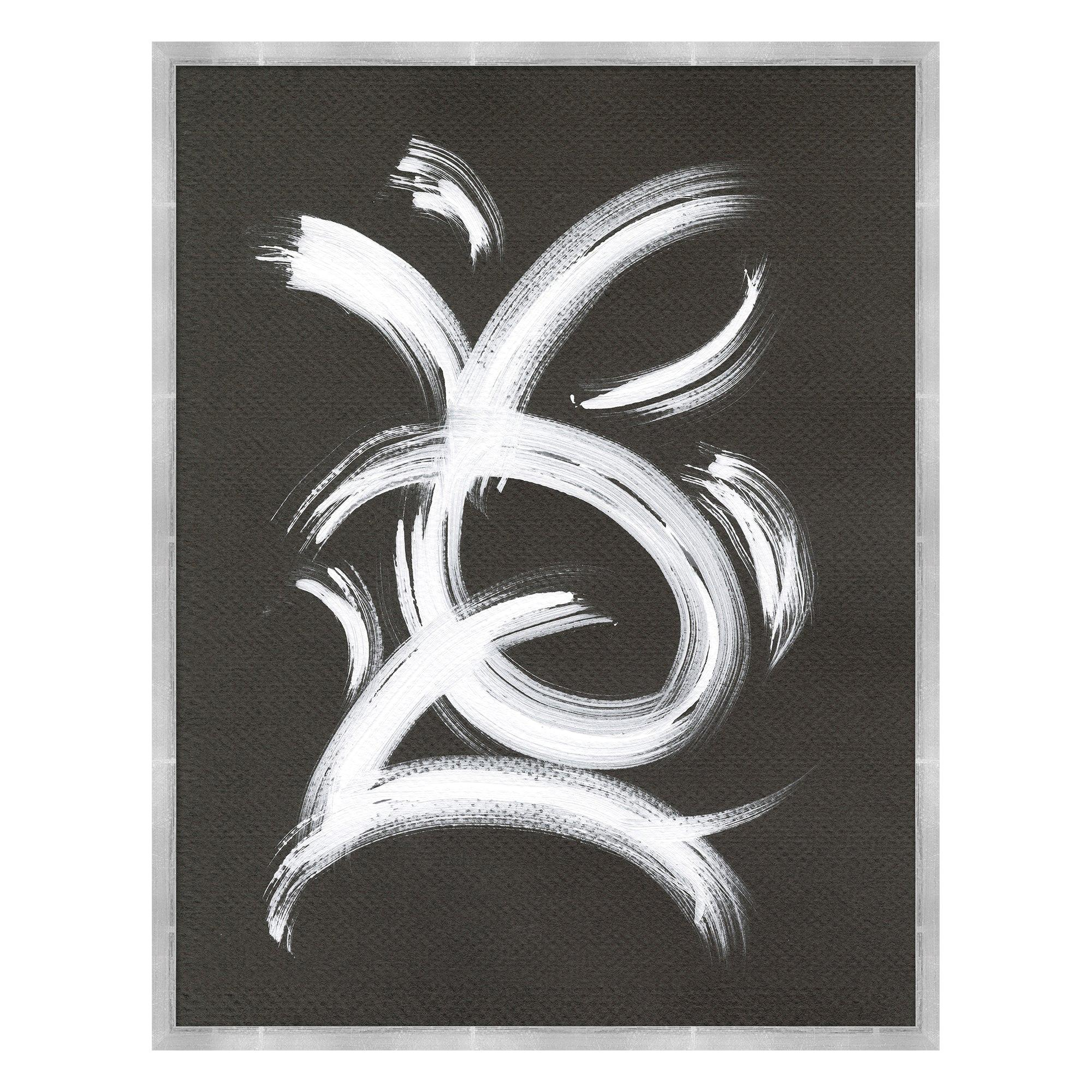 Now And Zen 1 Abstract Wall Print in White and Dark Gray by CuratedKravet