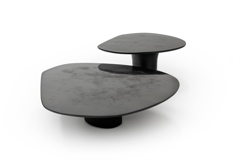 Modern NR Black Smooth, 21st Century Contemporary Circular Black Coffee Table For Sale