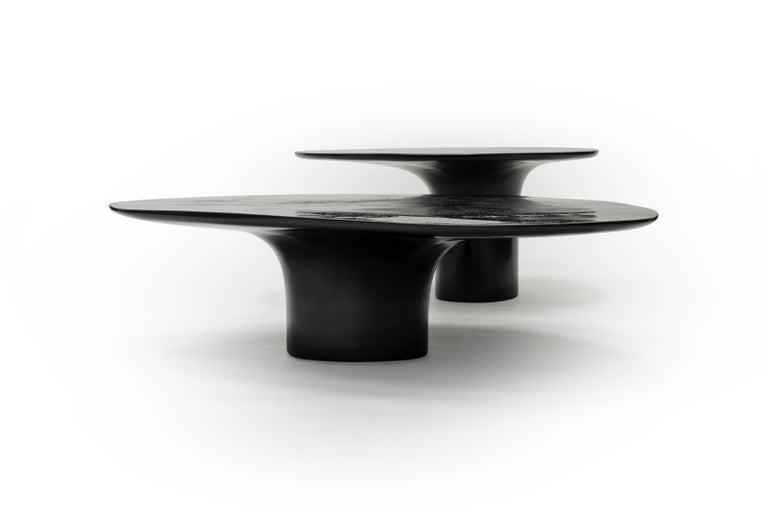 European NR Black Smooth, 21st Century Contemporary Circular Black Coffee Table For Sale