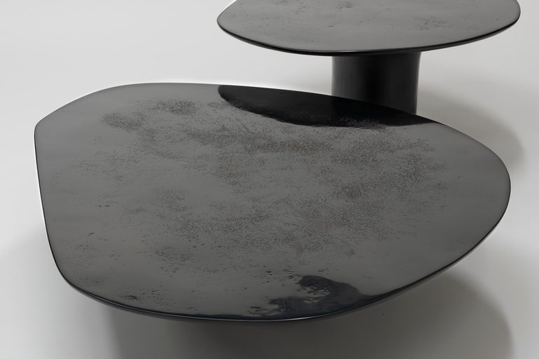 Hand-Crafted NR Black Smooth, 21st Century Contemporary Circular Black Coffee Table For Sale