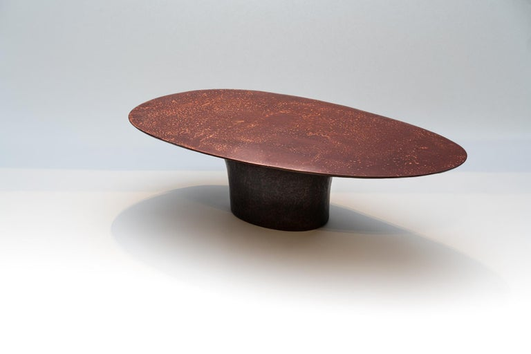 Modern NR Copper Finish Bronze Powdered Resin Coated Cast Metal Low Table For Sale