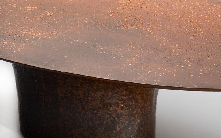 French NR Copper Finish Bronze Powdered Resin Coated Cast Metal Low Table For Sale