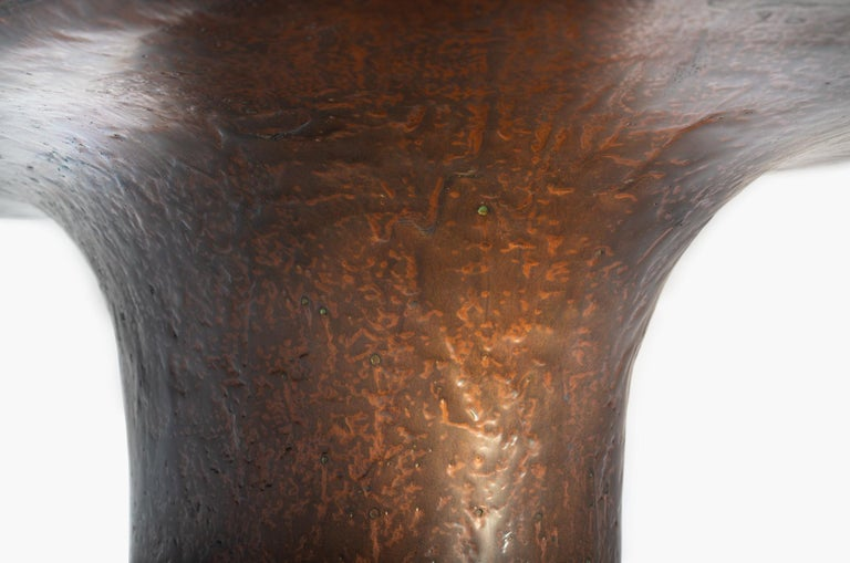 NR Copper Finish Bronze Powdered Resin Coated Cast Metal Low Table In New Condition For Sale In Paris, FR
