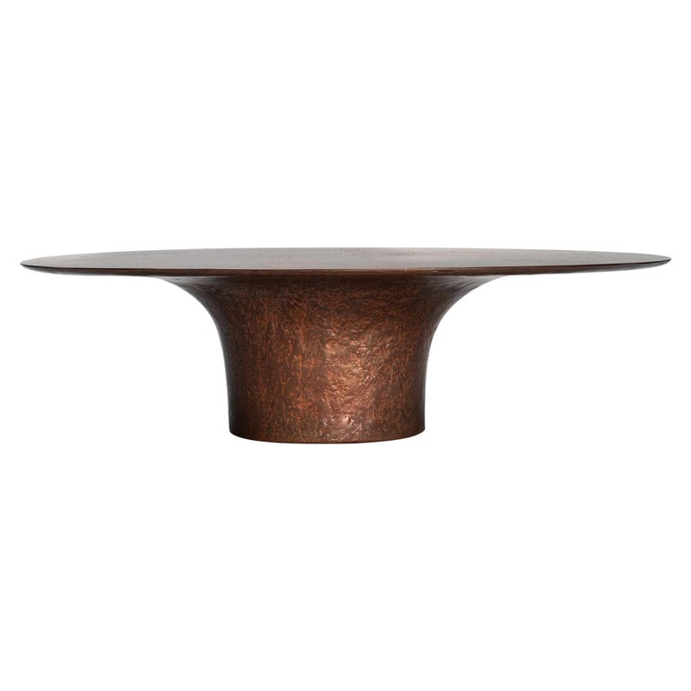 NR Copper Finish Bronze Powdered Resin Coated Cast Metal Low Table For Sale