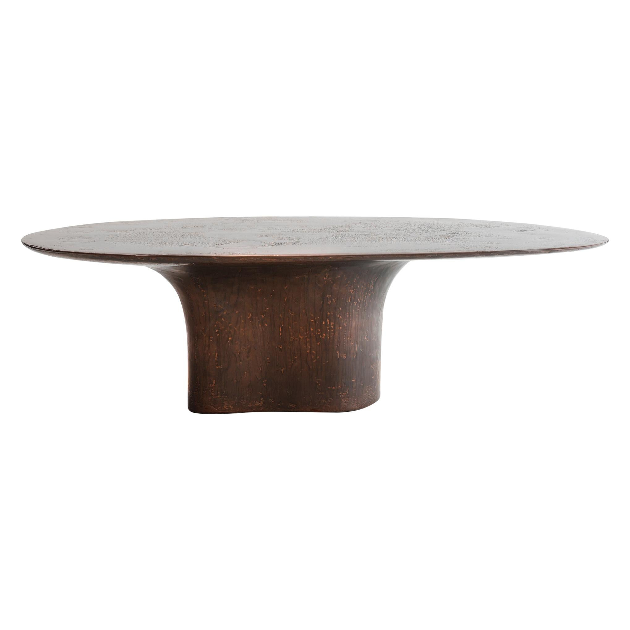 NR Copper V2, 21st Century Sculptured Liquid Oxidized Copper Oval Coffee Table