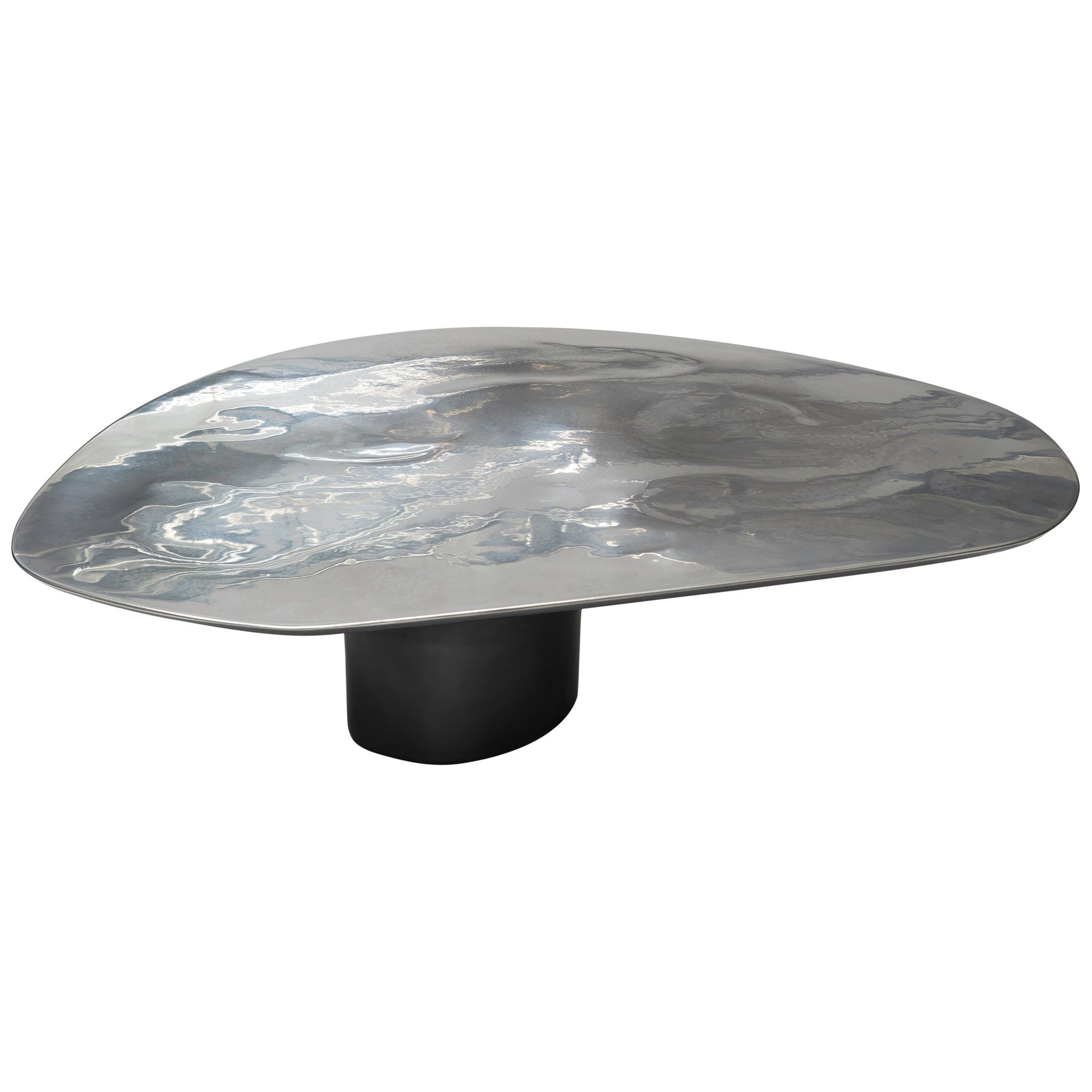 NR LOW, 21st Century Modern Sculptural Circular Silver Black Coffee Table