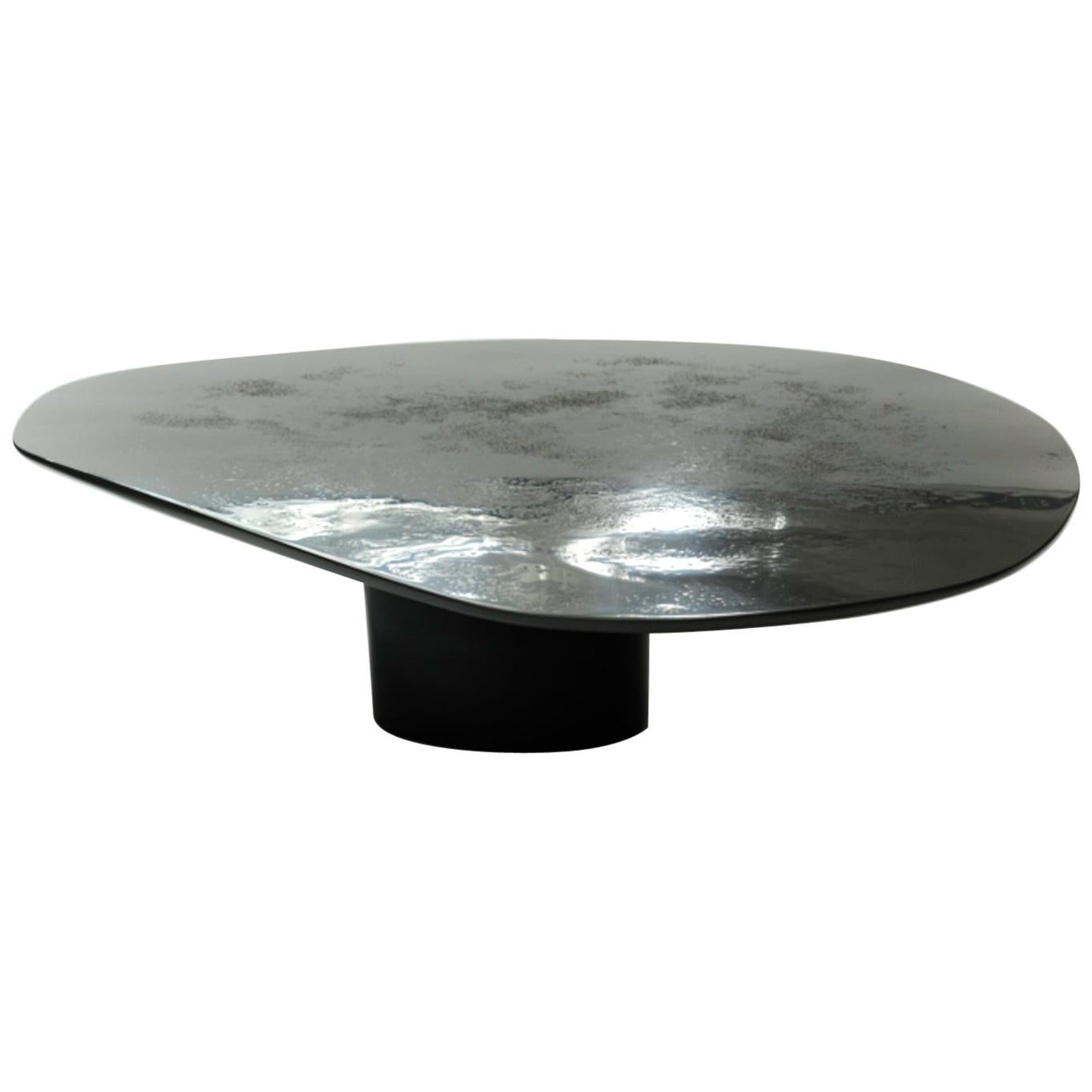 NR Smooth Black 21st Century Hand Sculpted Liquid Metal Low Cocktail Table