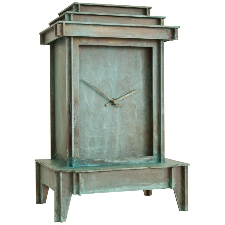 NSNG One More Time Clock Patinated Brass For Sale
