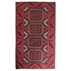 Vintage Persian Hand Knotted Red Orange Tribal Baluchi Rug, circa 1960