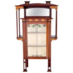 Antique Art Nouveau Inlaid Mahogany China Cabinet Shapland & Petter for Liberty