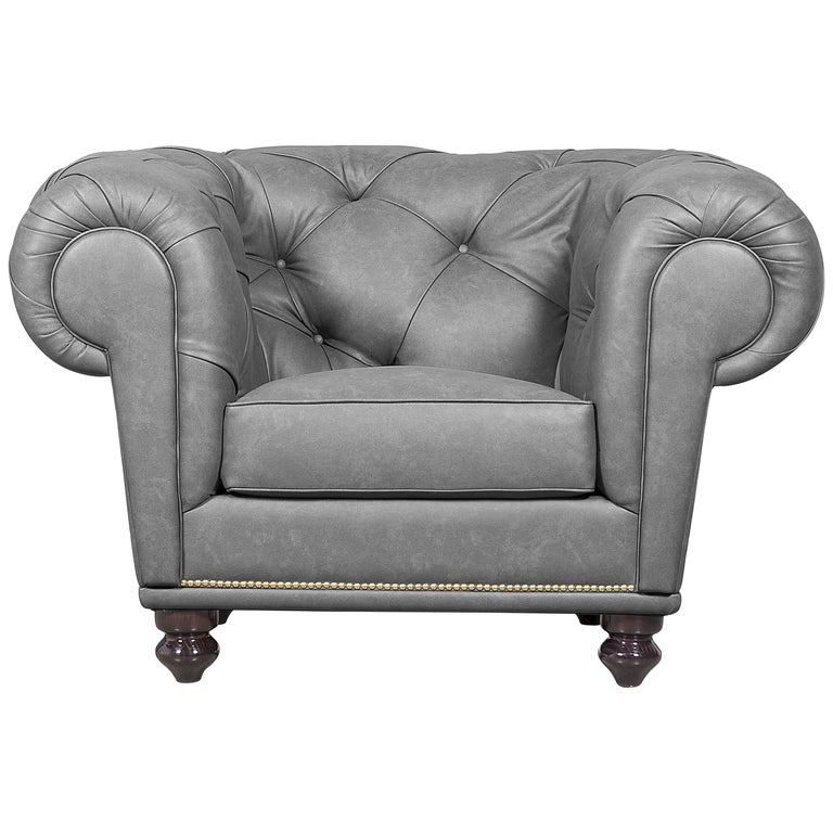 Nu Chesterfield Armchair Grey In Leather For Sale At 1stdibs