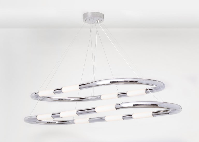 American Nuage Polished Chrome and White Sandblasted 6 Glass Shade Single Pendant Light For Sale