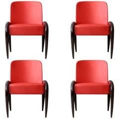 Nuba Set of 4 Red Dining Chairs by Emanuele Genuizzi