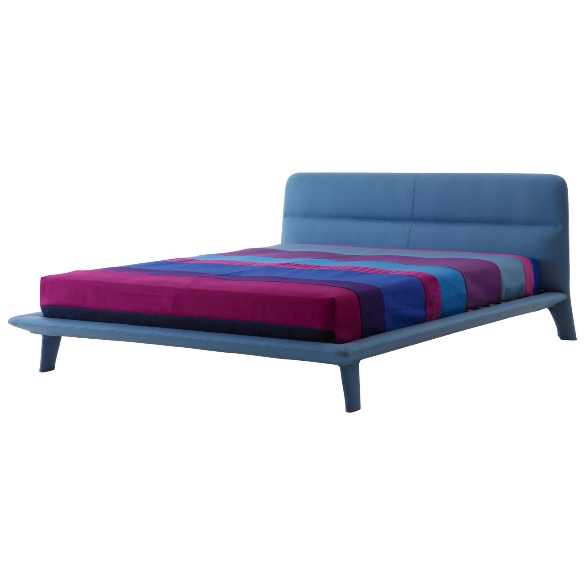 Nube Italia Amos Bed in Blue Upholstery by Mario Ferrarini