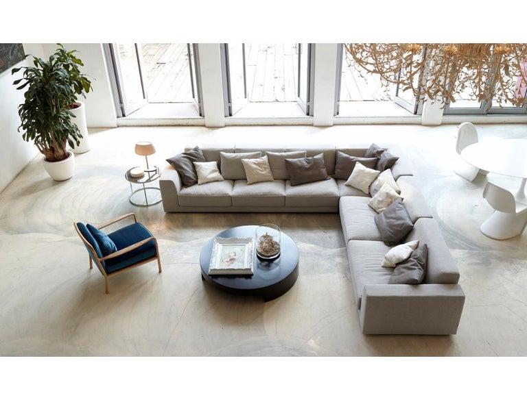 Italian Nube Italia Bryant 012 Sofa in Dark Gray Fabric by Marco Corti For Sale