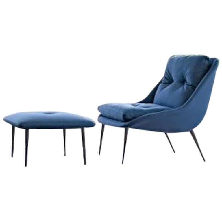 Nube Fency Armchair with stool in blue fabric or many other fabrics/leathers For Sale