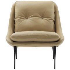 Nube Italia Fency Armchair in Light Brown Leather with Cushion by Marco Corti
