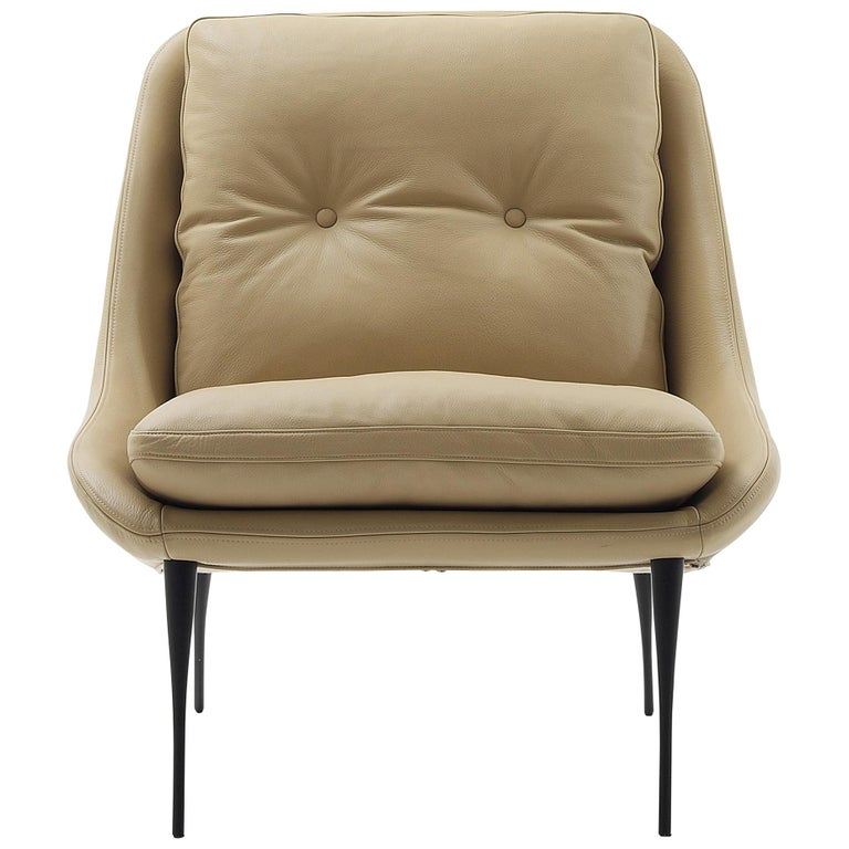 Nube Italia Fency Armchair in Light Brown Leather with Cushion by Marco Corti For Sale
