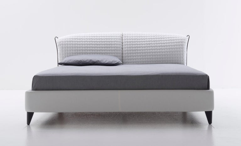 Modern Nube Italia Flatter Bed in Variations of Gray and White Fabric by Antonio Nicoli For Sale