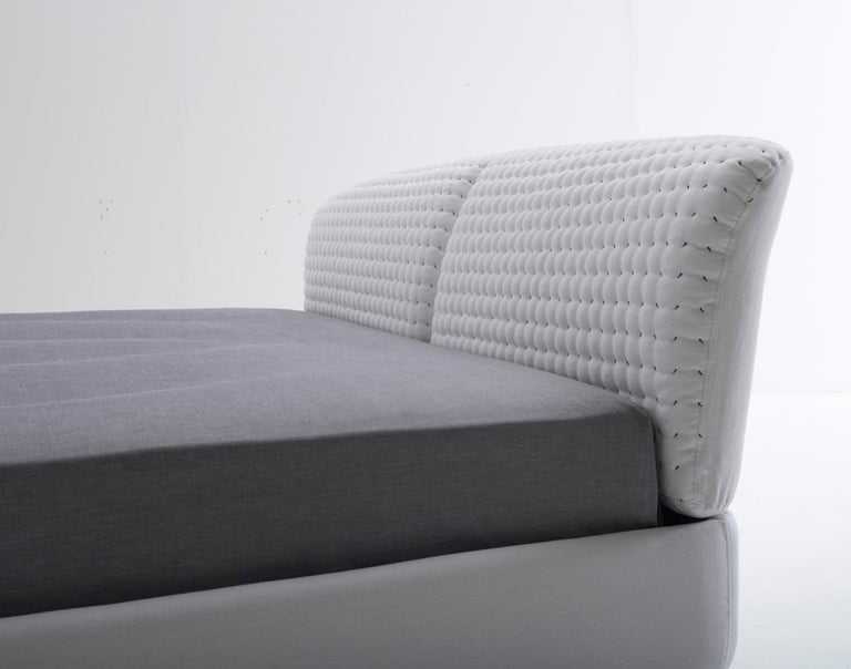 Italian Nube Italia Flatter Bed in Variations of Gray and White Fabric by Antonio Nicoli For Sale