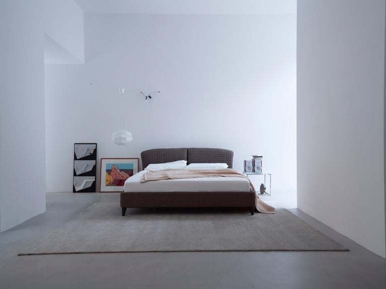 Painted Nube Italia Flatter Bed in Variations of Gray and White Fabric by Antonio Nicoli For Sale