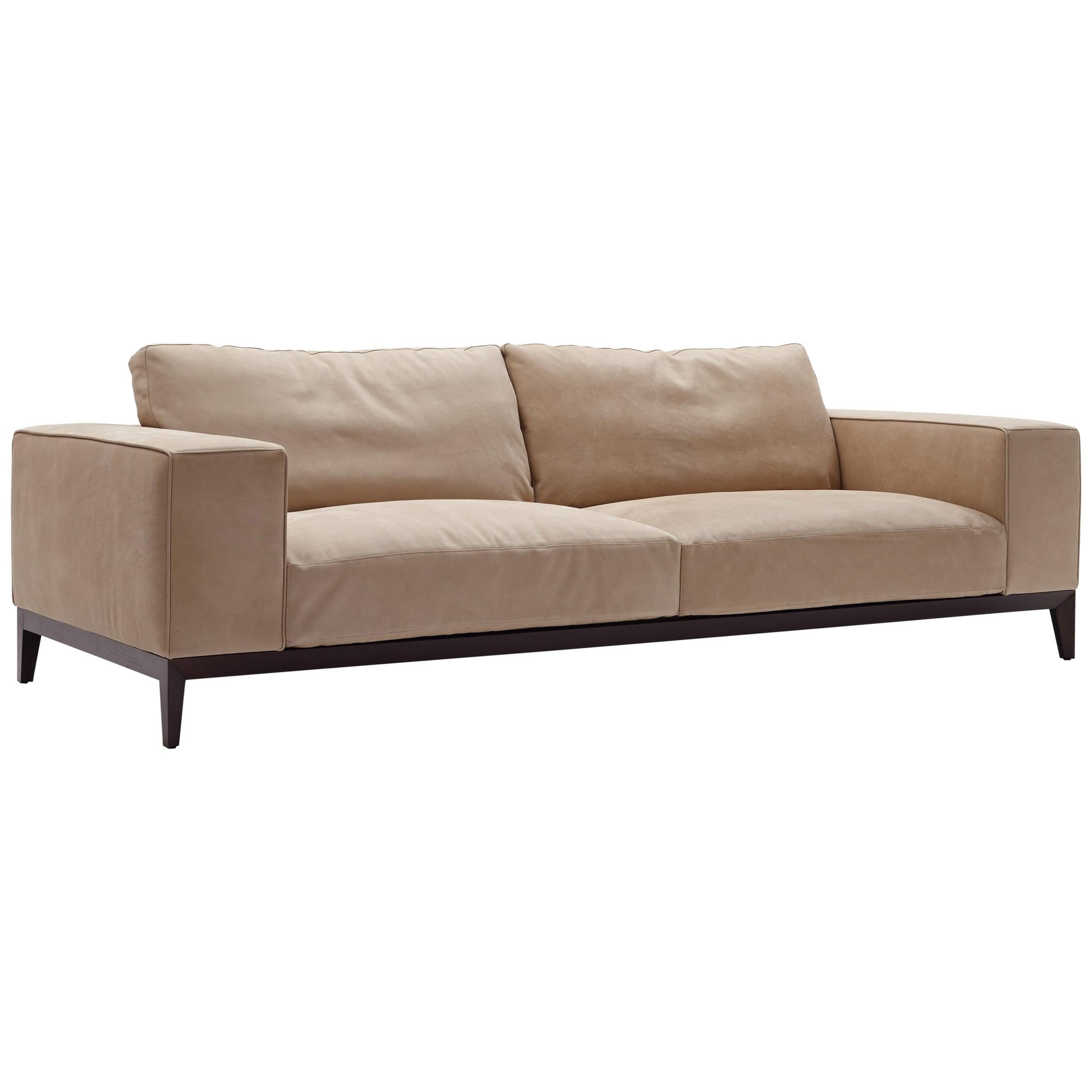 Nube Italia Herry Sofa in Tan Leather by Carlo Colombo