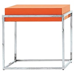 Nube Italia Link B Side Table in Lacquered Orange by Ricardo Bello Dias