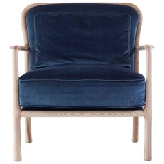 Nube Italia Loom Armchair in Blue Velvet with Wooden Legs by Marco Corti