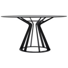 Nube Italia Mitos Table in Black with Black Glass Top by Giuliano Cappelletti